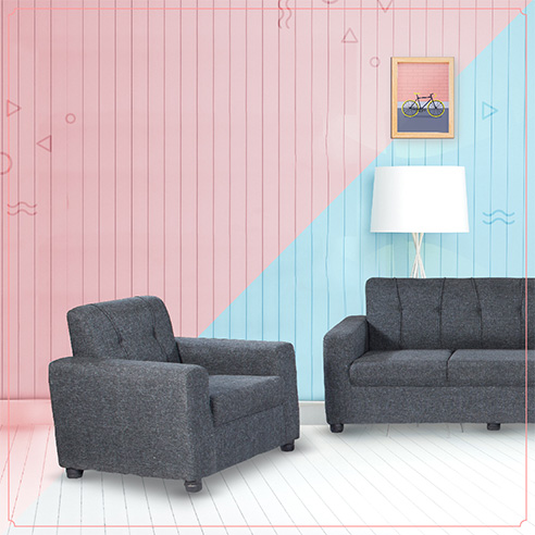 fabric sofa sets - Afifa Grey Sofa 3+1+1 | Looking Good Furniture
