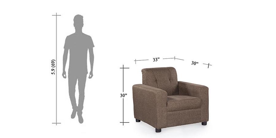 Sofa - fabrick sofa - Afifa brown sofa single seater   Looking Good Furniture