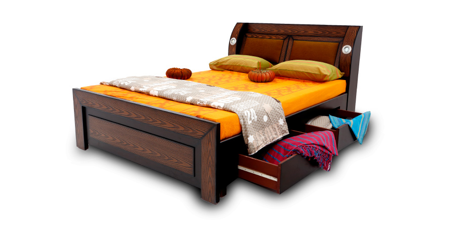 Double Bed   Beds With Storage   Bulb Design Bed | Looking Good Furniture